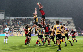 The Crusaders play Western Force in front of half-empty bleachers at AMI Stadium in March this year