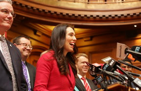 Jacinda Ardern gives her first media conference as Labour Party leader.