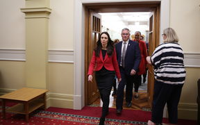Labour leader Jacinda Ardern (left) with her deputy Kelvin Davis (centre).