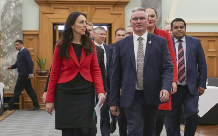 Jacinda Ardern and Kelvin Davis walking to media conference at Parliament after Little stands down.