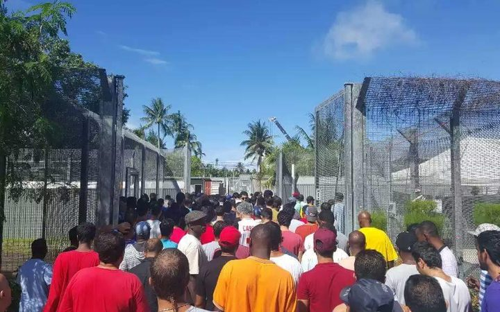 Refugees on Manus protest against efforts to evict them from Australian run detention centre.