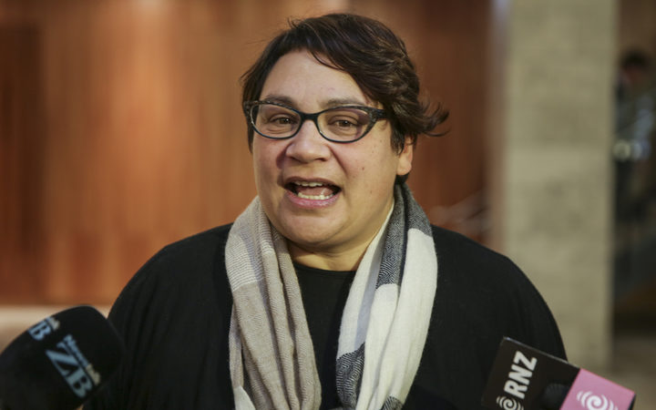 Metiria Turei leaves a meeting with investigators at the Social Development Ministry regarding her benefit history.