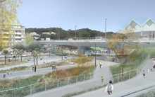 An artist's impression of the proposed Basin Reserve flyover.