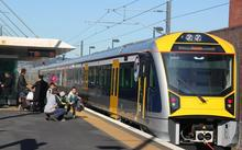 One of Auckland's 57 new electric trains at Henderson Station