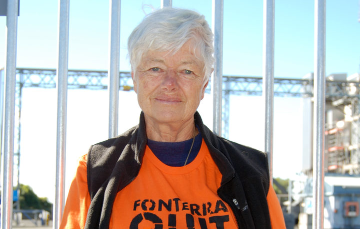 Former Green Party co-leader Jeanette Fitzsimons at the Fonterra protest.