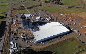 An aerial photo of the Mataura Valley Milk Company plant under construction on July 29, 2017.