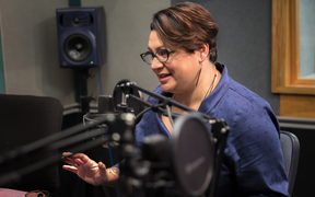 Metiria Turei in the RNZ Morning Report Auckland studio. 17 July 2017.