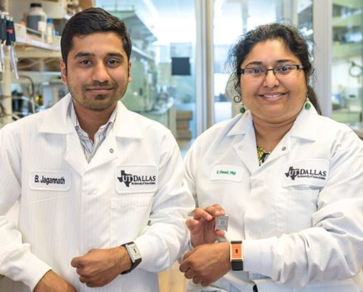 Badrinath Jagannath (left) and Dr. Shalini Prasad (right) with the device that can let diabetics monitor their health by measuring compounds in their sweat