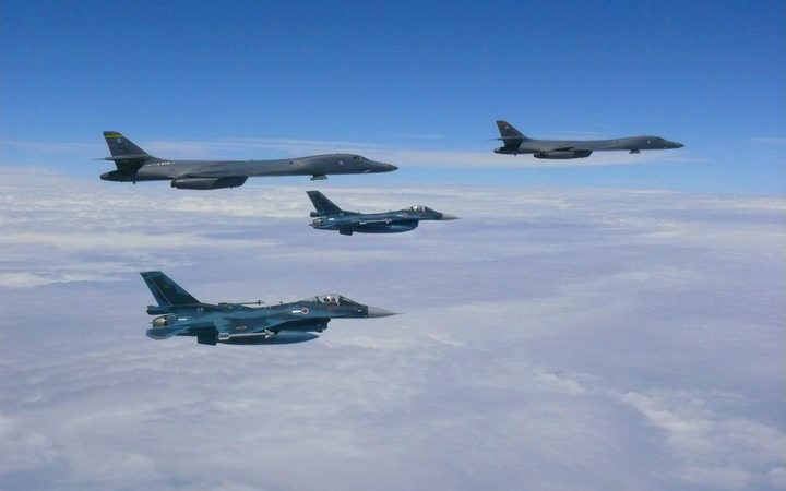 US Air Force B-1B Lancers flying on patrol near the Korean peninsula.
