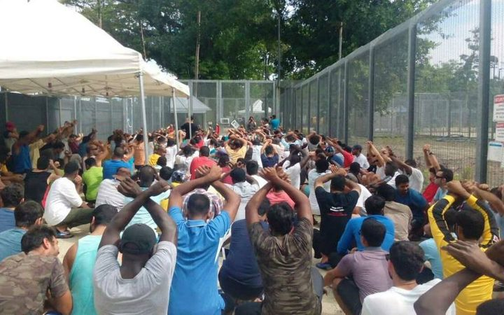 Protesting refugees on Manus Island.