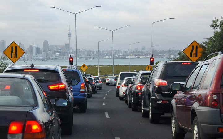 AUCKLAND - FEB 13 2017: Traffic jam in Auckland, New Zealand.