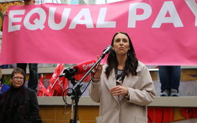 Jacinda Ardern addresses the crowd at the Pay Equity Rally in Auckland.