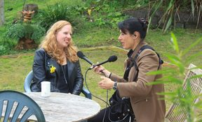 Interviewing Heidi in the garden at the MKWC