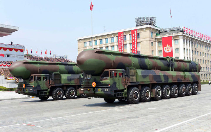 A picture released by North Korea  which shows ballistic missiles on display during a military parade.