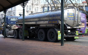 A water tanker at Dunedin's Octagon.