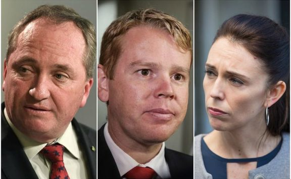 (From left) Barnaby Joyce, Chris Hipkins and Jacinda Ardern.