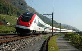 A Regional Tilting train on Switzerland's rail network.