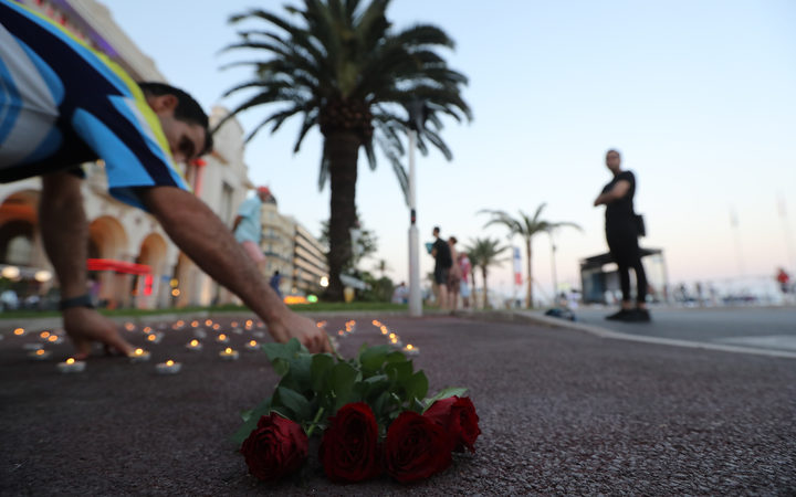 A wreath is laid at the promenade where, in 2016, a truck was driven into crowds celebrating Bastille Day in Nice, France, killing 86 and injuring 458 people.