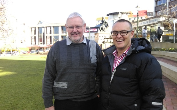 Dunedin Night Shelter Trust chair David Brown (left) and Dunedin North MP David Clark ahead of tonight's fundraising event.