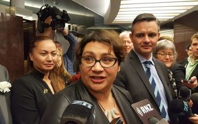 Green Party MP Marama Davidson (left), former co-leader Metiria Turei, and leader James Shaw.