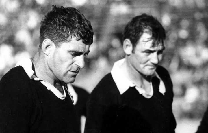 Colin Meads and Brian Lochore during a game between the All Blacks and Eastern Transvaal in 1970, location unknown.