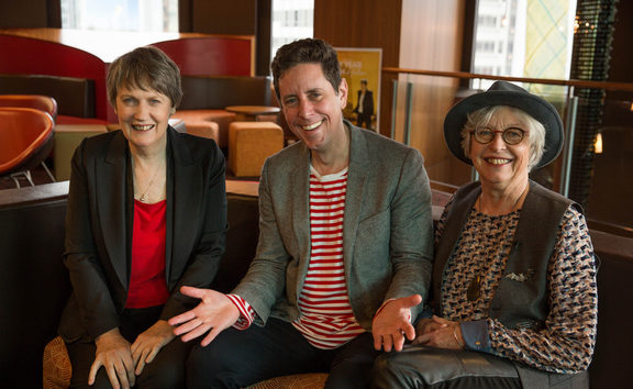 RNZ presenter Wallace Chapman with Helen Clark (left) and Gaylene Preston (right).