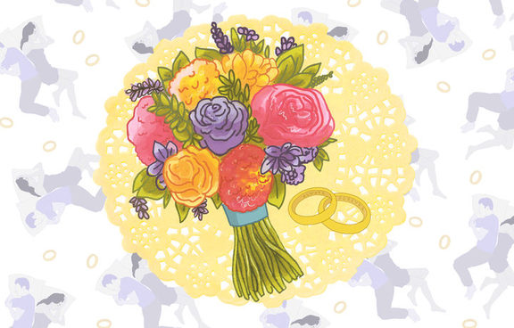 An illustration of a bouquet of flowers.