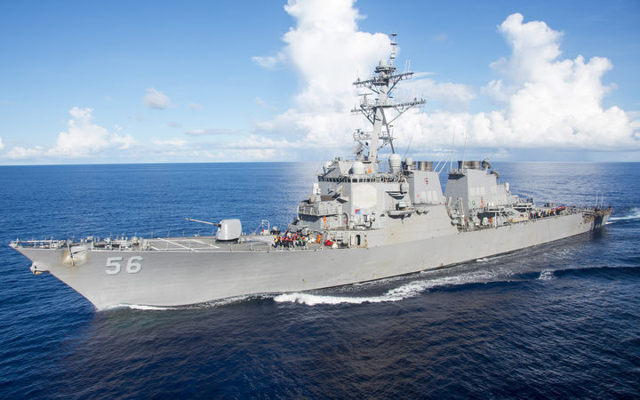 US Navy Destroyer collides with merchant ship