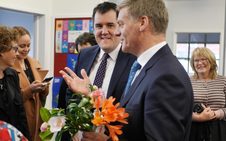 National candidate Chris Bishop campaigning in Hutt South with National Party leader Bill English
