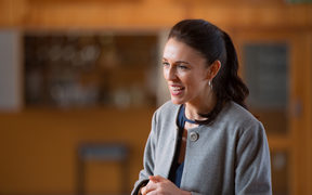 Jacinda Ardern in the Morrnsville College school hall on a visit to her hometown. 10 August 2017.
