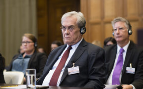 The former foreign minister of the Marshall Islands, Tony de Brum, at the International Court of Justice in The Hague.