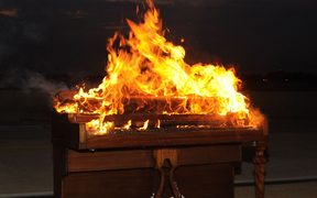 Piano burning, Langley Air Force Base, 2011