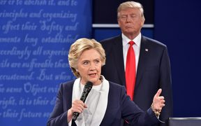 Hillary Clinton and Donald Trump on stage during the second debate of the presidential campaign, St. Louis, Missouri, 9 October 2016.