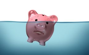 floating piggy bank