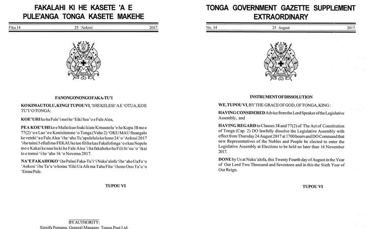 The Tonga Gazzette notice announcing the dissolution of parliament.