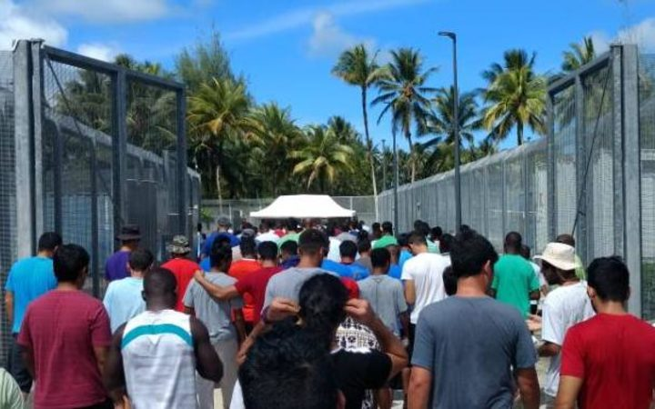 Protest action at the Manus Island detention centre, 25-8-17.