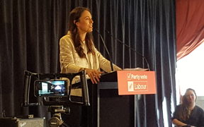 Labour leader Jacinda Ardern speaking in Christchurch.