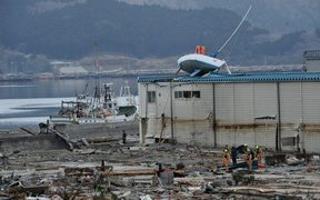 Devastation in the city of Ofunato, Japan, on March 15, 2011, four days after the earthquake and tsunami.