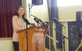 Labour Party leader Jacinda Ardern announces the party's education policy at Western Springs College in Auckland.