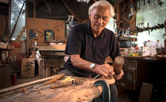 Award-winning artist and former All Black Fred Graham working in his Waiuku studio