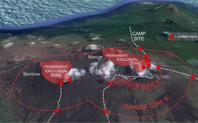 The danger zones around the Ambrym Volcano on the 30th of August 2017.