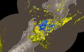 Heavy rain over Wellington and the top of the South Island on Thursday morning.