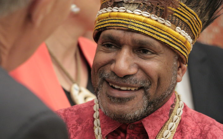 The West Papua Freedom Movement's Benny Wenda meets MPs at New Zealand's parliament in Wellington. May 2017.