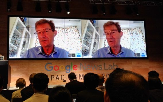 Nic Newman from the Reuters Institute for the Study of Journalism addressing the Google News Lab summit. Photo / Mediawatch