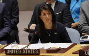 United States Ambassador to the United Nations Nikki Haley speaks during a UN Security Council emergency meeting over North Korea's nuclear test.  4 Sept 2017.