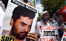 A protest against the death sentence handed to convicted bomb plotter Yakub Memon, also known as Yaqub Memon, in Mumbai on 27 July.