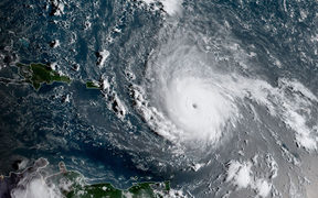 This image obtained from the National Oceanic and Atmospheric Administration shows Hurricane Irma on September 5, 2017.