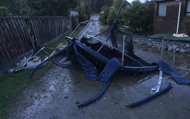 "This photo - captioned ""found the tramp"" - shows a wrecked trampoline after reports of a tornado near Hokitika."