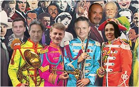 Sgt Pepper's album cover with the party leader's heads Photoshopped onto it
