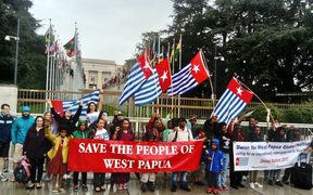 The Free West Papua Campaign protest outside the UN building in Geneva.
